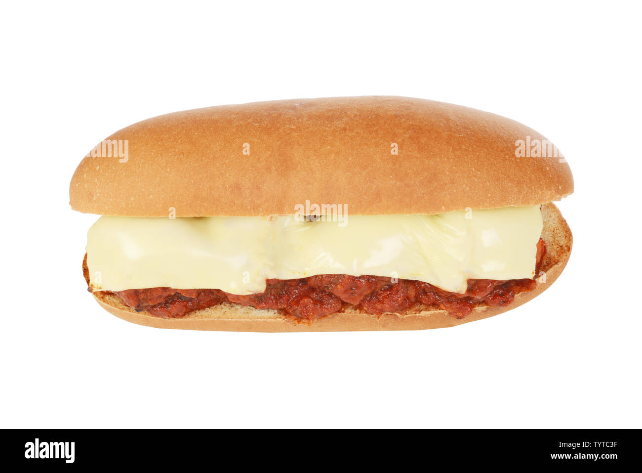 top view meatball sub sandwich with tomato sauce Stock Photo