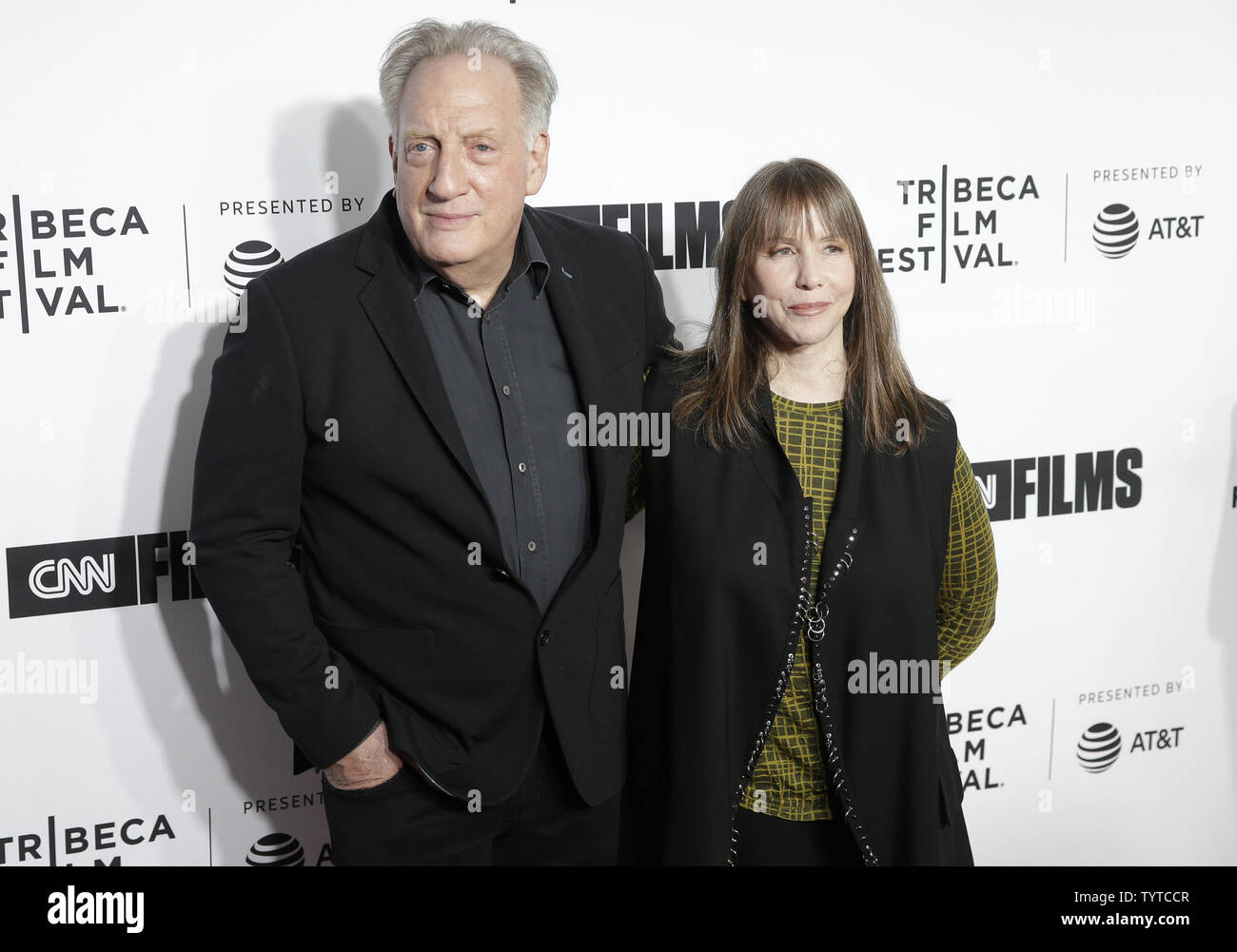 Alan Zweibel and Laraine Newman arrive on the red carpet at the Opening Night Gala of 'Love, Gilda' as part of 2018 Tribeca Film Festival at the Beacon Theatre on April 18, 2018 in New York City.   Photo by John Angelillo/UPI - Stock Image
