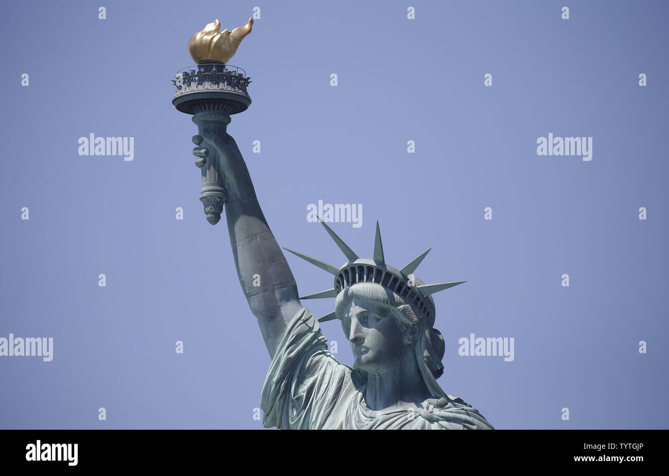 The Statue of Liberty stands on Liberty Island 2 days before Independence Day and the 4th of July in New York City on July 2, 2018.      Photo by John Angelillo/UPI Stock Photo