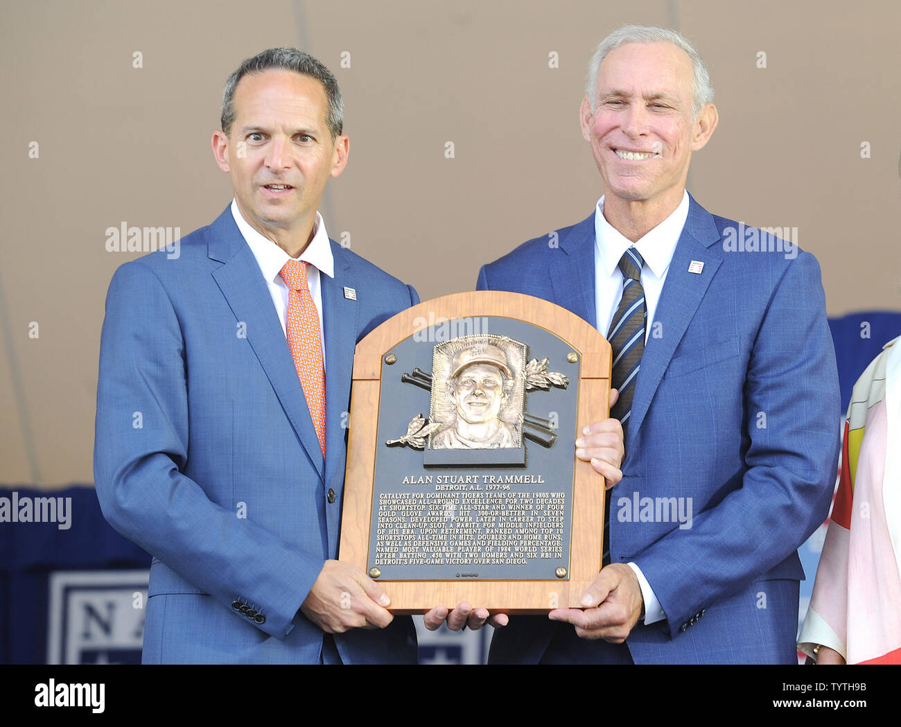 Alan Trammell  and President of the Baseball Hall of Fame Jeff Idelson holds his plaque before he his Baseball Hall of Fame induction speech at the Clark Sports Center in Cooperstown, NY on July 29, 2018.  A record 60 Hall of Famers are scheduled to be in Central New York to honor Vladimir Guerrero, Trevor Hoffman, Chipper Jones, Jack Morris, Jim Thome and Alan Trammell at the National Baseball Hall of Fame and Museum during Hall of Fame Weekend on July 27-30.     Photo by George Napolitano/UPI - Stock Image