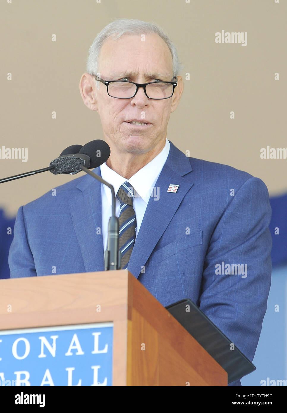 Alan Trammell delivers his Baseball Hall of Fame induction speech at the Clark Sports Center in Cooperstown, NY on July 29, 2018.  A record 60 Hall of Famers are scheduled to be in Central New York to honor Vladimir Guerrero, Trevor Hoffman, Chipper Jones, Jack Morris, Jim Thome and Alan Trammell at the National Baseball Hall of Fame and Museum during Hall of Fame Weekend on July 27-30.     Photo by George Napolitano/UPI - Stock Image