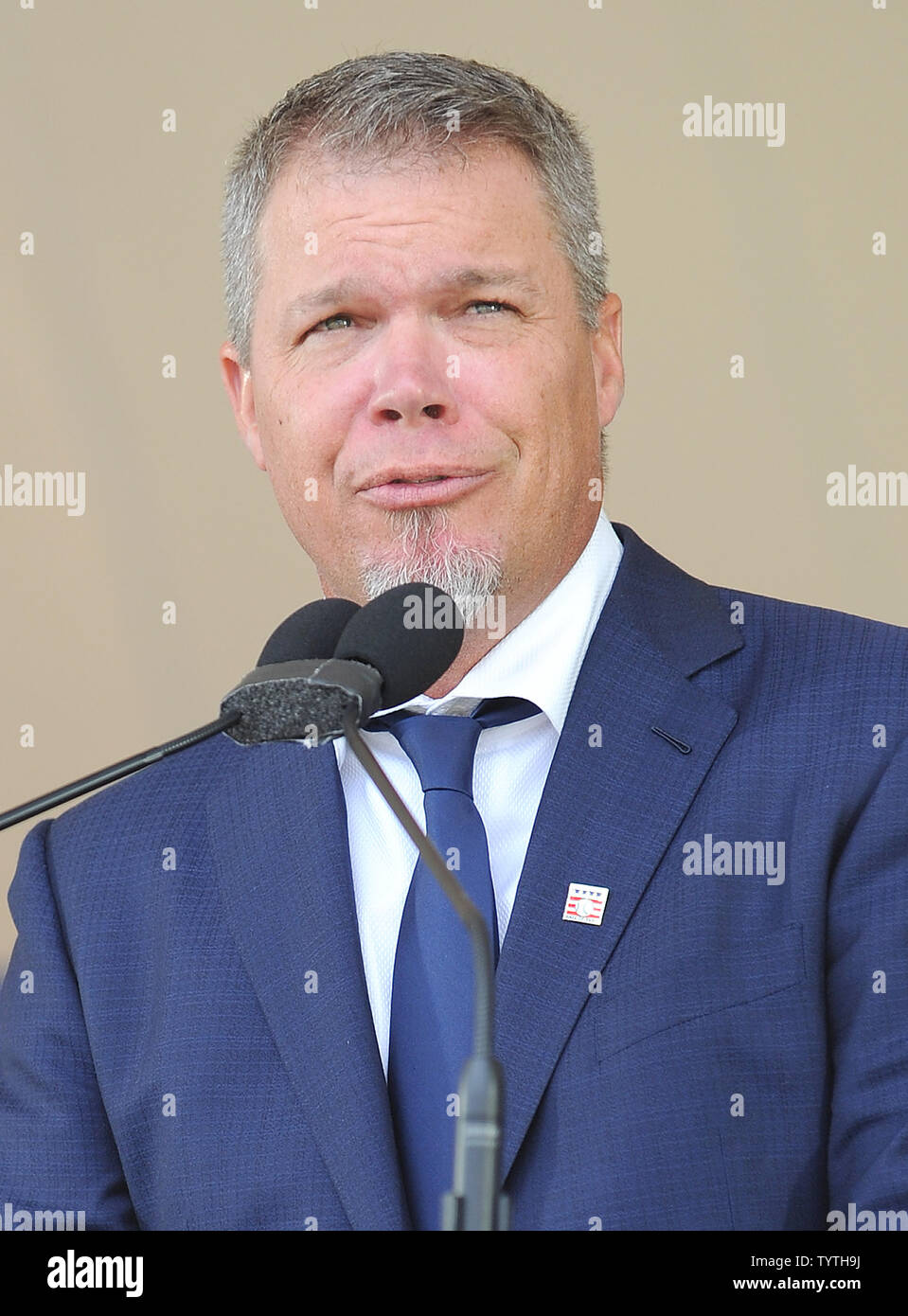 Atlanta Braves Chipper Jones delivers his Baseball Hall of Fame induction speech at the Clark Sports Center in Cooperstown, NY on July 29, 2018.  A record 60 Hall of Famers are scheduled to be in Central New York to honor Vladimir Guerrero, Trevor Hoffman, Chipper Jones, Jack Morris, Jim Thome and Alan Trammell at the National Baseball Hall of Fame and Museum during Hall of Fame Weekend on July 27-30.     Photo by George Napolitano/UPI - Stock Image