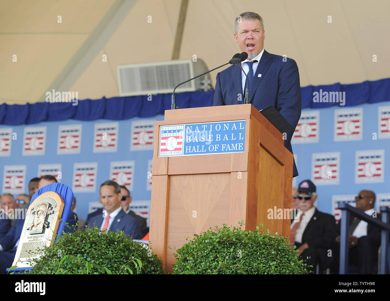 Atlanta Braves Chipper Jones delivers his Baseball Hall of Fame induction speech at the Clark Sports Center in Cooperstown, NY on July 29, 2018.  A record 60 Hall of Famers are scheduled to be in Central New York to honor Vladimir Guerrero, Trevor Hoffman, Chipper Jones, Jack Morris, Jim Thome and Alan Trammell at the National Baseball Hall of Fame and Museum during Hall of Fame Weekend on July 27-30.     Photo by George Napolitano/UPI                                                                                                   . - Stock Image