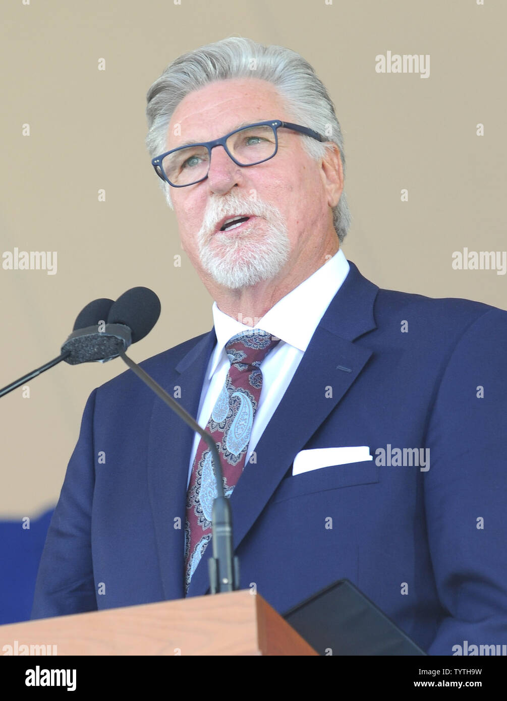 Jack Morris delivers his Baseball Hall of Fame induction speech at the Clark Sports Center in Cooperstown, NY on July 29, 2018.  A record 60 Hall of Famers are scheduled to be in Central New York to honor Vladimir Guerrero, Trevor Hoffman, Chipper Jones, Jack Morris, Jim Thome and Alan Trammell at the National Baseball Hall of Fame and Museum during Hall of Fame Weekend on July 27-30.     Photo by George Napolitano/UPI                                                                                                   . - Stock Image