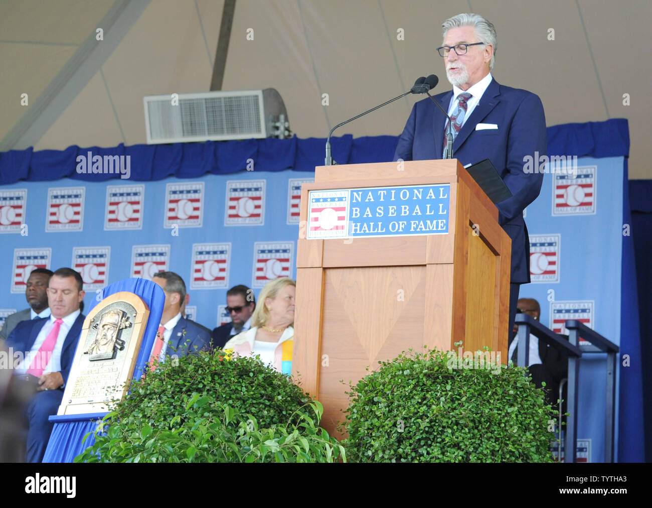 Jack Morris delivers his Baseball Hall of Fame induction speech at the Clark Sports Center in Cooperstown, NY on July 29, 2018.  A record 60 Hall of Famers are scheduled to be in Central New York to honor Vladimir Guerrero, Trevor Hoffman, Chipper Jones, Jack Morris, Jim Thome and Alan Trammell at the National Baseball Hall of Fame and Museum during Hall of Fame Weekend on July 27-30.     Photo by George Napolitano/UPI - Stock Image