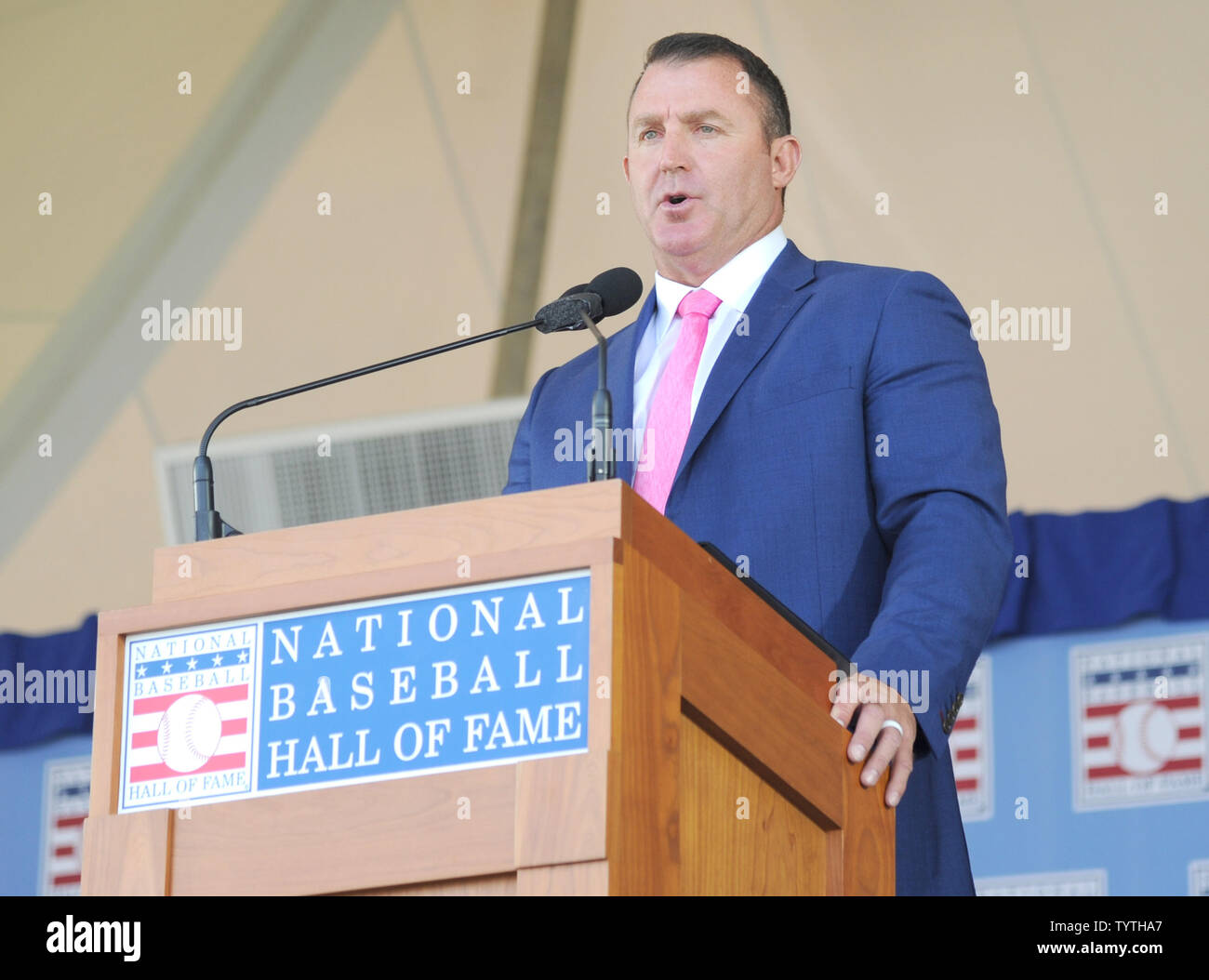 Jim Thome delivers his Baseball Hall of Fame induction speech at the Clark Sports Center in Cooperstown, NY on July 29, 2018.  A record 60 Hall of Famers are scheduled to be in Central New York to honor Vladimir Guerrero, Trevor Hoffman, Chipper Jones, Jack Morris, Jim Thome and Alan Trammell at the National Baseball Hall of Fame and Museum during Hall of Fame Weekend on July 27-30.     Photo by George Napolitano/UPI - Stock Image