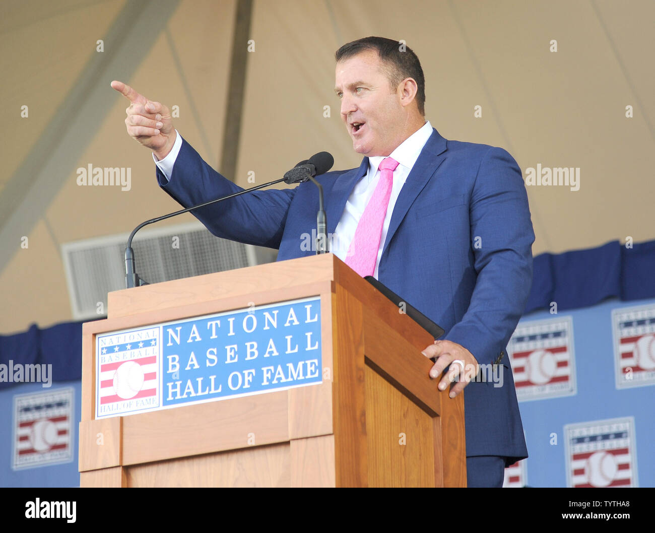 Jim Thome delivers his Baseball Hall of Fame induction speech at the Clark Sports Center in Cooperstown, NY on July 29, 2018.  A record 60 Hall of Famers are scheduled to be in Central New York to honor Vladimir Guerrero, Trevor Hoffman, Chipper Jones, Jack Morris, Jim Thome and Alan Trammell at the National Baseball Hall of Fame and Museum during Hall of Fame Weekend on July 27-30.     Photo by George Napolitano/UPI                                                                                                   . - Stock Image