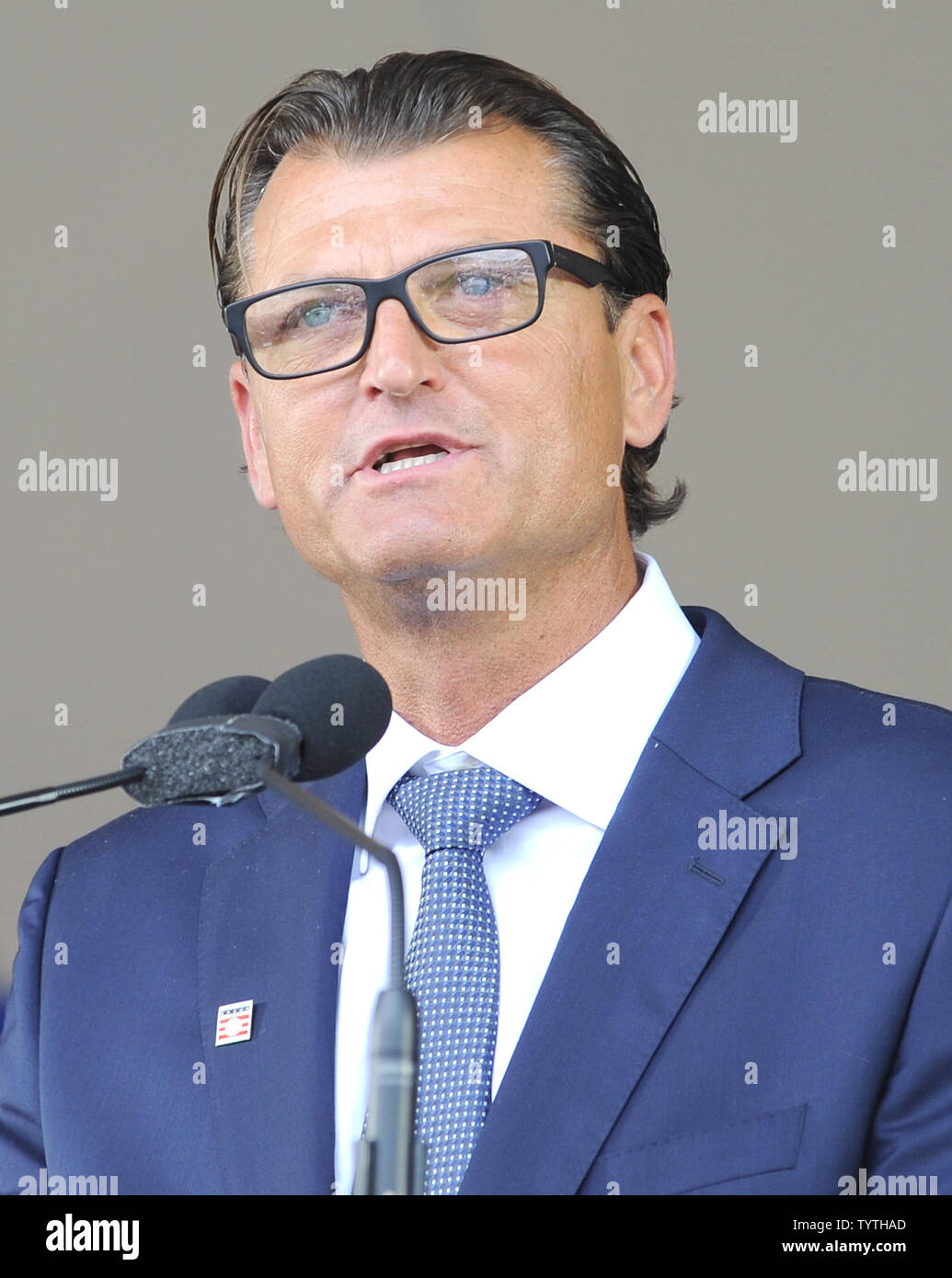 trevor Hoffman delivers his Baseball Hall of Fame induction speech at the Clark Sports Center in Cooperstown, NY on July 29, 2018.  A record 60 Hall of Famers are scheduled to be in Central New York to honor Vladimir Guerrero, Trevor Hoffman, Chipper Jones, Jack Morris, Jim Thome and Alan Trammell at the National Baseball Hall of Fame and Museum during Hall of Fame Weekend on July 27-30.     Photo by George Napolitano/UPI - Stock Image