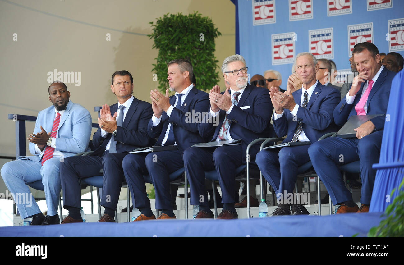 Vladmir Guerrero, Trevor Hoffman, Chipper Jones, Jack Morris, Alan Trammell and Jim Thome on stage before delivering their Baseball Hall of Fame induction speech at the Clark Sports Center in Cooperstown, NY on July 29, 2018.  A record 60 Hall of Famers are scheduled to be in Central New York to honor Vladimir Guerrero, Trevor Hoffman, Chipper Jones, Jack Morris, Jim Thome and Alan Trammell at the National Baseball Hall of Fame and Museum during Hall of Fame Weekend on July 27-30.     Photo by George Napolitano/UPI - Stock Image