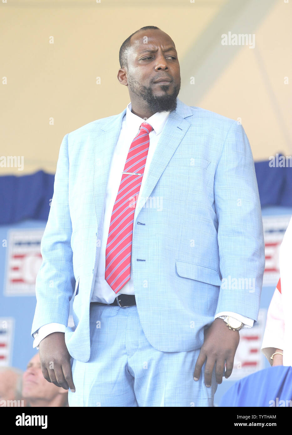 Vladmir Guerrero delivers his  Baseball Hall of Fame induction speech at the Clark Sports Center in Cooperstown, NY on July 29, 2018.  A record 60 Hall of Famers are scheduled to be in Central New York to honor Vladimir Guerrero, Trevor Hoffman, Chipper Jones, Jack Morris, Jim Thome and Alan Trammell at the National Baseball Hall of Fame and Museum during Hall of Fame Weekend on July 27-30.     Photo by George Napolitano/UPI - Stock Image