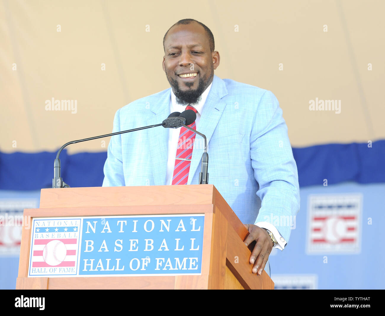 Vladmir Guerrero delivers his  Baseball Hall of Fame induction speech at the Clark Sports Center in Cooperstown, NY on July 29, 2018.  A record 60 Hall of Famers are scheduled to be in Central New York to honor Vladimir Guerrero, Trevor Hoffman, Chipper Jones, Jack Morris, Jim Thome and Alan Trammell at the National Baseball Hall of Fame and Museum during Hall of Fame Weekend on July 27-30.     Photo by George Napolitano/UPI                                                                                                   . - Stock Image