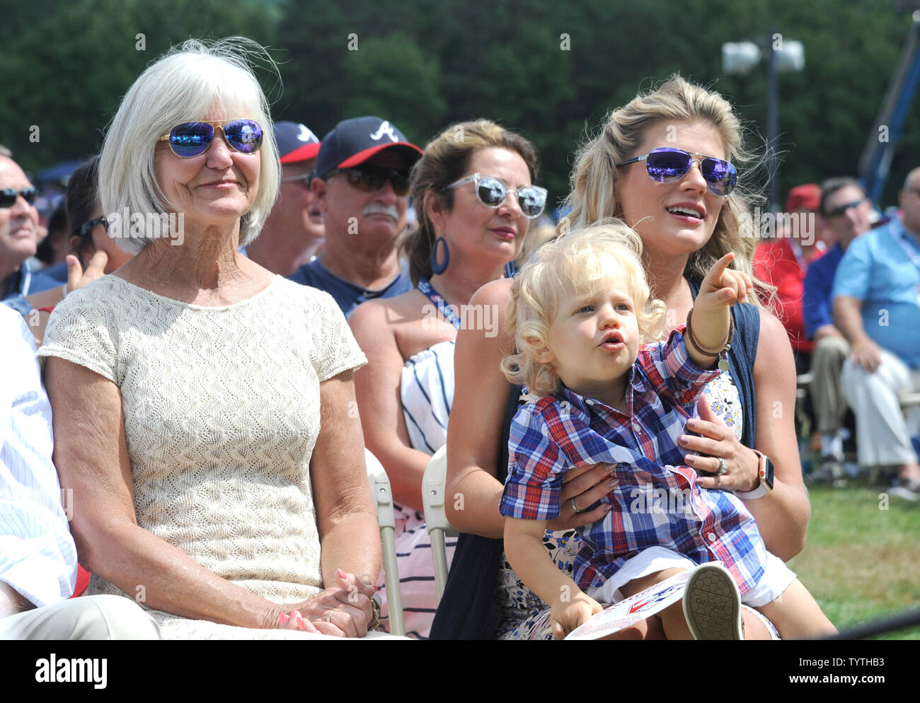 Chipper Jones Wife Taylor and his Mom attend Chipper Jones induction speech at  Baseball Hall of Fame at the Clark Sports Center in Cooperstown, NY on July 29, 2018.  A record 60 Hall of Famers are scheduled to be in Central New York to honor Vladimir Guerrero, Trevor Hoffman, Chipper Jones, Jack Morris, Jim Thome and Alan Trammell at the National Baseball Hall of Fame and Museum during Hall of Fame Weekend on July 27-30.     Photo by George Napolitano/UPI                                                                                                   . - Stock Image