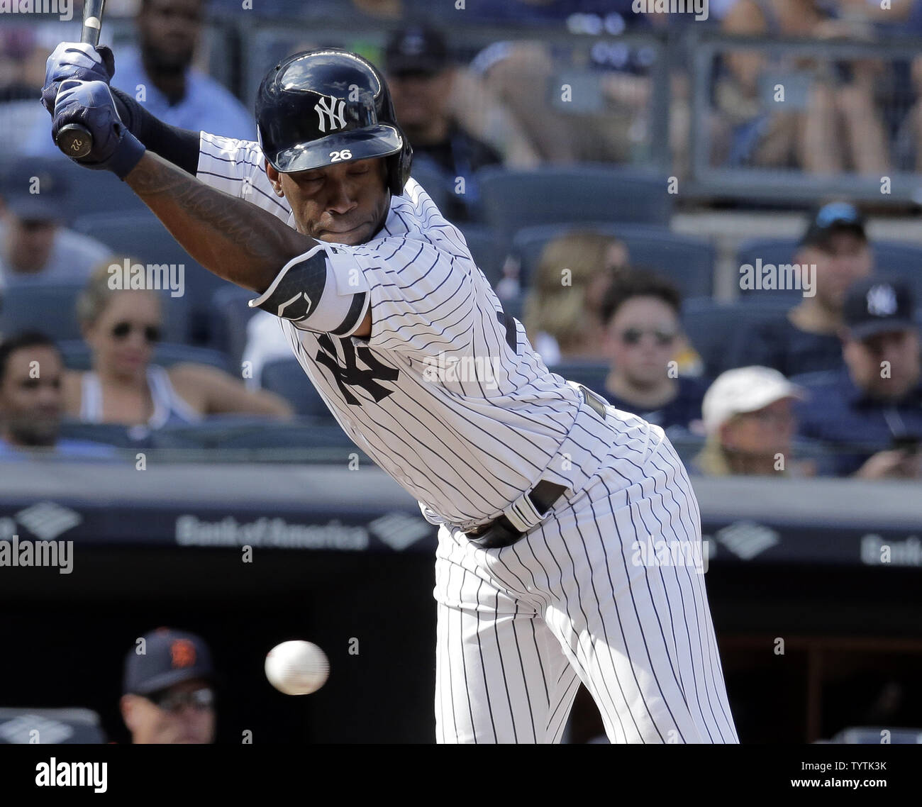 New York Yankees batter Andrew McCutchen is hit by a pitch against the Detroit Tigers in the eighth inning at Yankee Stadium in New York City on September 2, 2018.    Photo by Ray Stubblebine/UPI - Stock Image