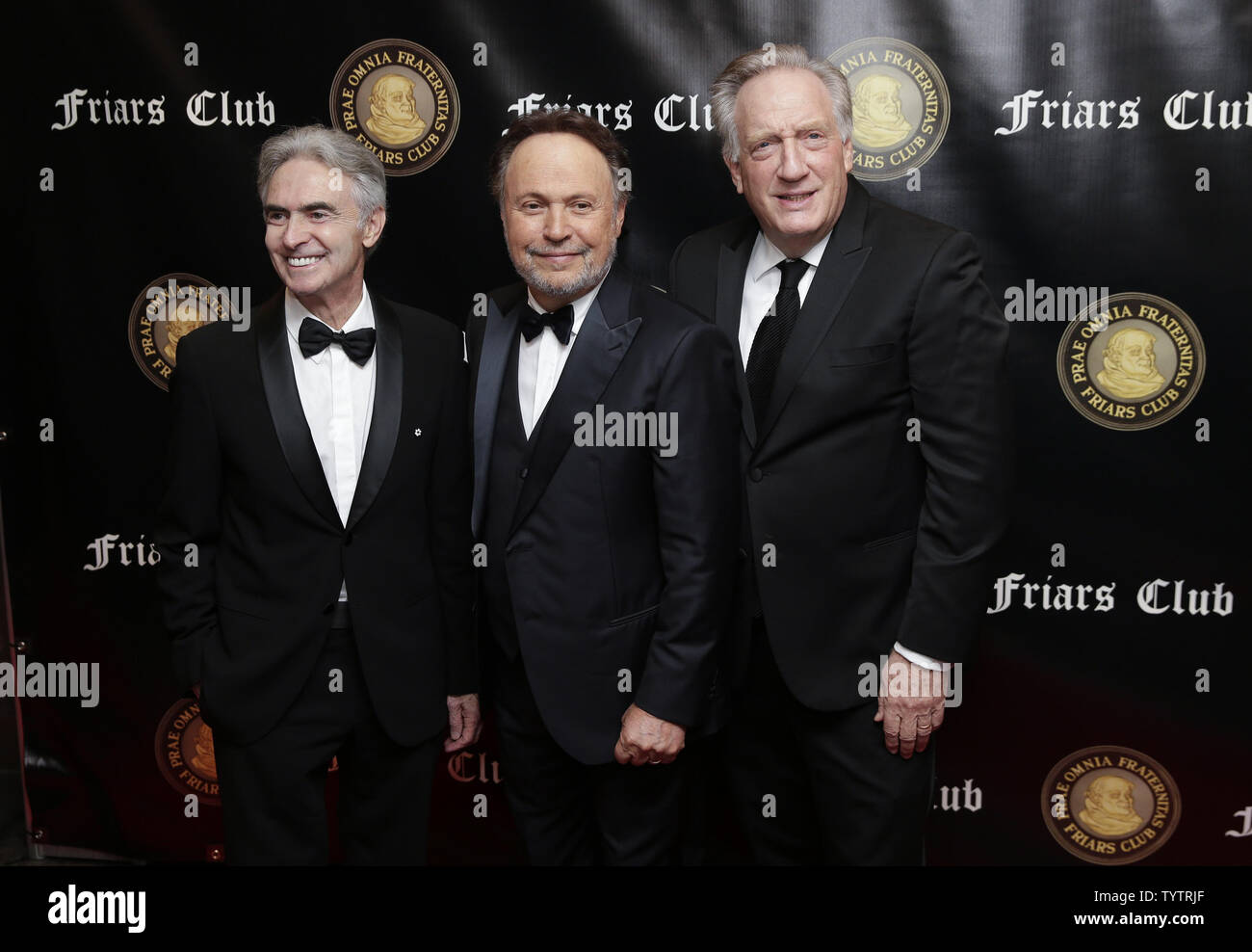 David Steinberg, Billy Crystal and Alan Zweibel arrive on the red carpet when the Friar's Club Honors Billy Crystal with their Entertainment Icon Award at The Ziegfeld Ballroom on November 12, 2018 in New York City.       Photo by John Angelillo/UPI - Stock Image