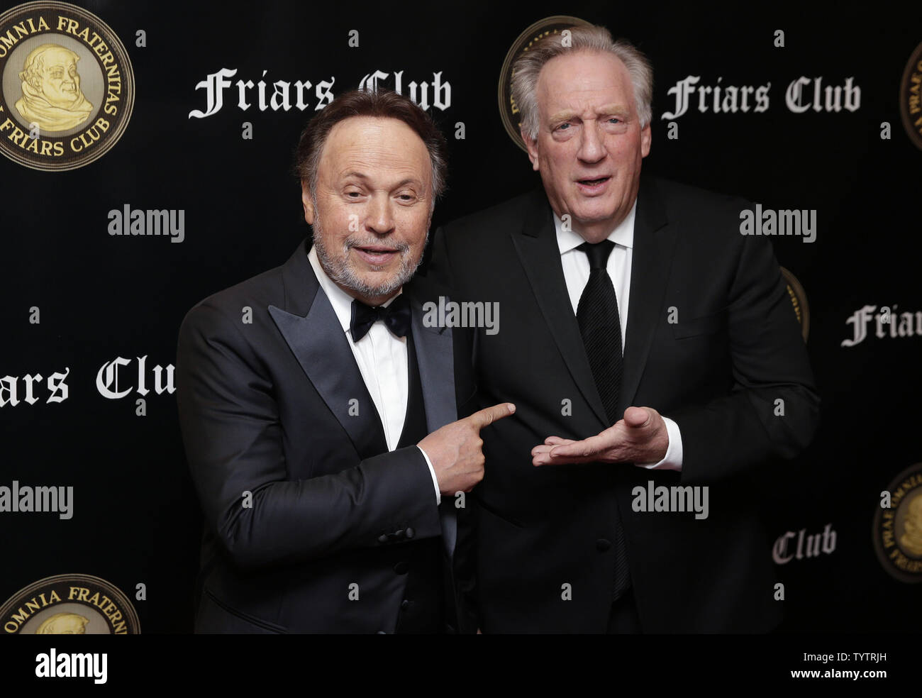Billy Crystal and Alan Zweibel arrive on the red carpet when the Friar's Club Honors Billy Crystal with their Entertainment Icon Award at The Ziegfeld Ballroom on November 12, 2018 in New York City.       Photo by John Angelillo/UPI - Stock Image