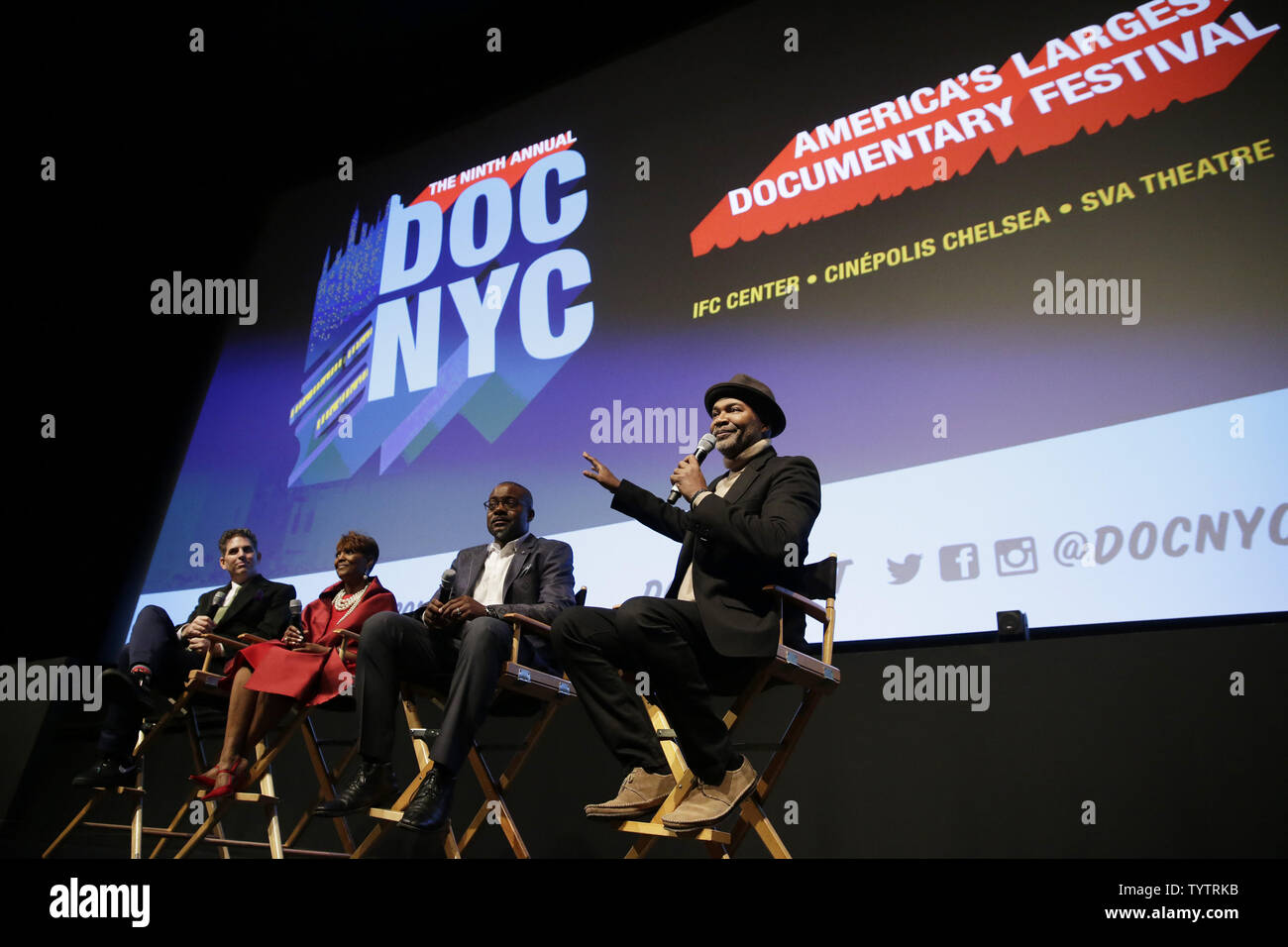 Lead Producer Alan Elliott, Aretha Franklin's niece & executive producer Sabrina Owens and Tirrell D. Whittley speak at a Q&A session at the World Premiere of Aretha Franklin documentary AMAZING GRACE at DOC NYC at SVA Theatre on November 12, 2018 in New York City.       Photo by John Angelillo/UPI - Stock Image