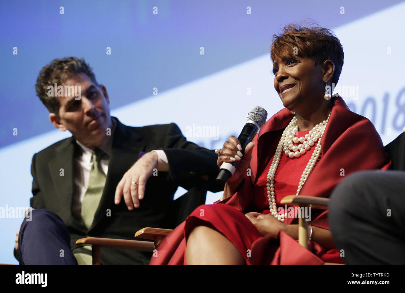 Lead Producer Alan Elliott and Aretha Franklin's niece & executive producer Sabrina Owens speak at a Q&A session at the World Premiere of Aretha Franklin documentary AMAZING GRACE at DOC NYC at SVA Theatre on November 12, 2018 in New York City.       Photo by John Angelillo/UPI - Stock Image