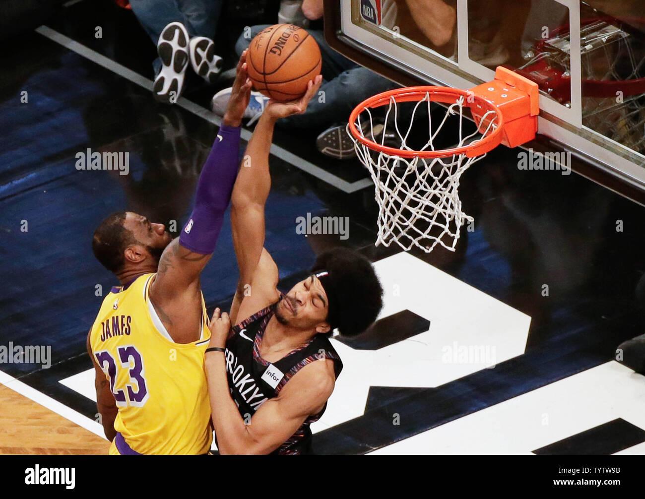 Brooklyn Nets Jarrett Allen blocks a ...