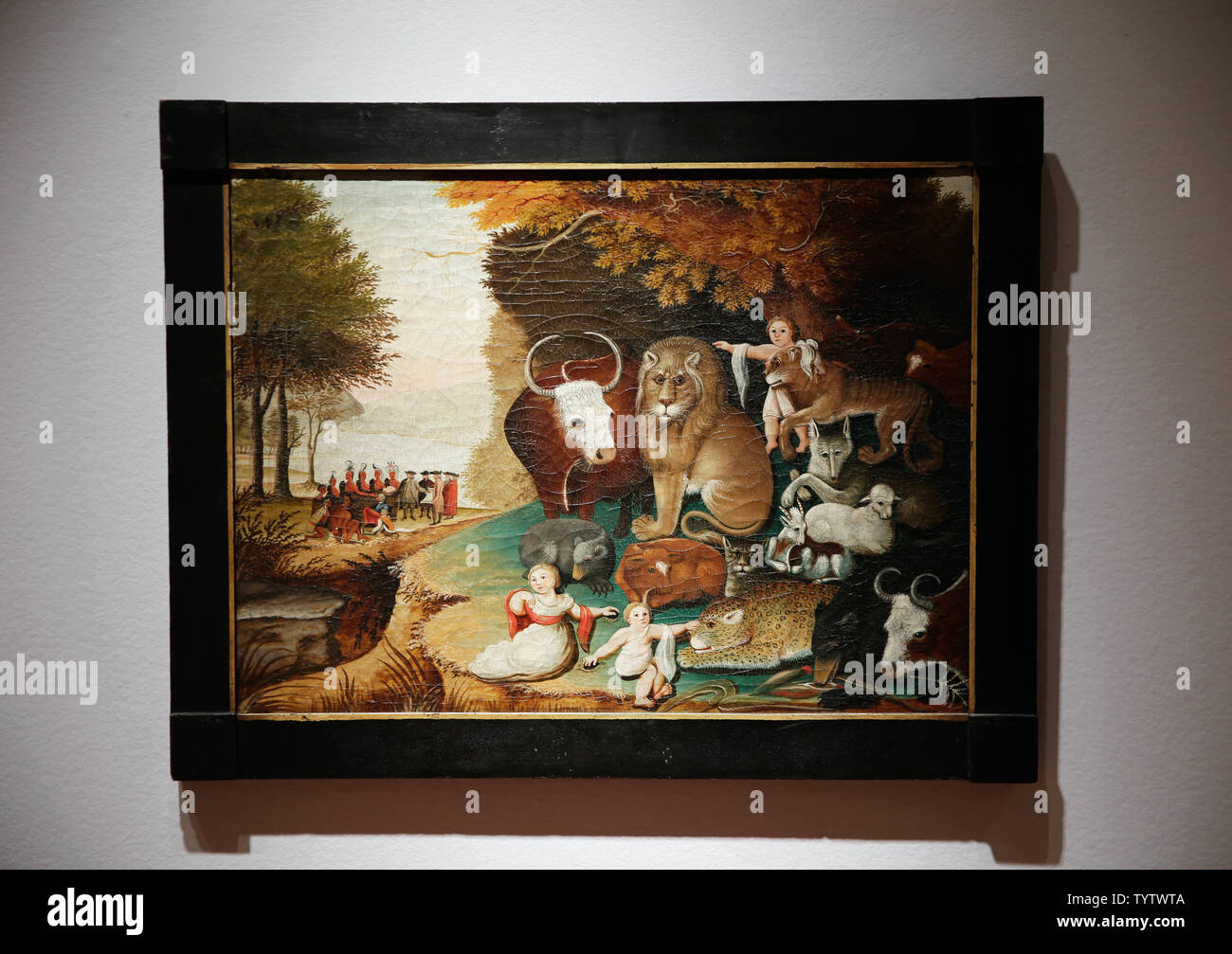 Edward Hicks' 'Peaceable Kingdom is on display at a press preview of auction titled 'Important American Furniture, Folk Art, Silver and Prints' at Christie's in New York City on January 12, 2019. The auction features Ammi Phillips' 'Girl in a Red Dress with a Dog', and Edward Hicks' 'Peaceable Kingdom, both estd $800,000 - $1.2 million. The auction takes place on January 17th and 18th.     Photo by John Angelillo/UPI - Stock Image