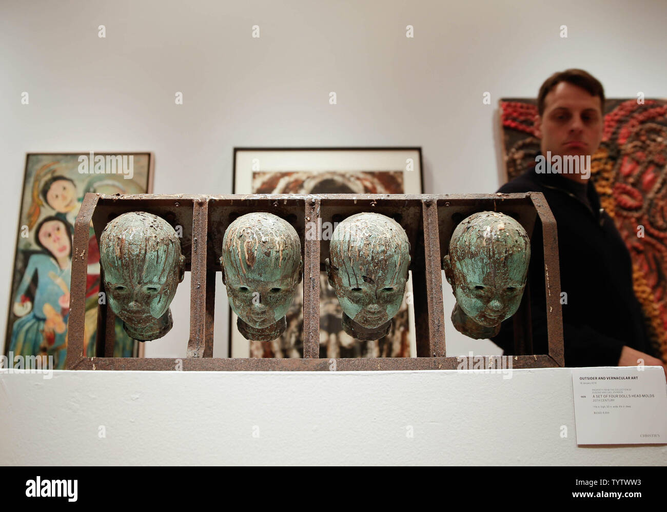 A Set of Four Doll's Head Molds are on display at a press preview of an upcoming auction titled 'Outsider and Vernacular Art' at Christie's in New York City on January 12, 2019. The auction featuring Henry Darger's '148 At Jennie Richee During fury of storm are unsuccessfully attached (sic) by Glandelinians / 149 At Jennie Richee narrowly escape capture but Blengins come to rescue, double sided' , estd $250,000 - $500,000 and Bill Traylor's 'Goat, Camel, Lion and Figures', estd $75,000 - $100,000 takes place at Christie's on January 18th.     Photo by John Angelillo/UPI - Stock Image