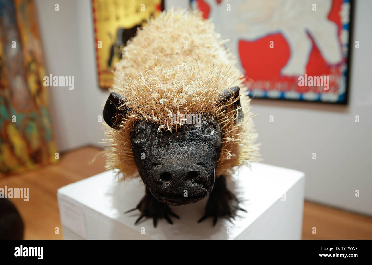 Porcupineby Felipe Benito Archuleta is on display at a press preview of an upcoming auction titled 'Outsider and Vernacular Art' at Christie's in New York City on January 12, 2019. The auction featuring Henry Darger's '148 At Jennie Richee During fury of storm are unsuccessfully attached (sic) by Glandelinians / 149 At Jennie Richee narrowly escape capture but Blengins come to rescue, double sided' , estd $250,000 - $500,000 and Bill Traylor's 'Goat, Camel, Lion and Figures', estd $75,000 - $100,000 takes place at Christie's on January 18th.     Photo by John Angelillo/UPI - Stock Image