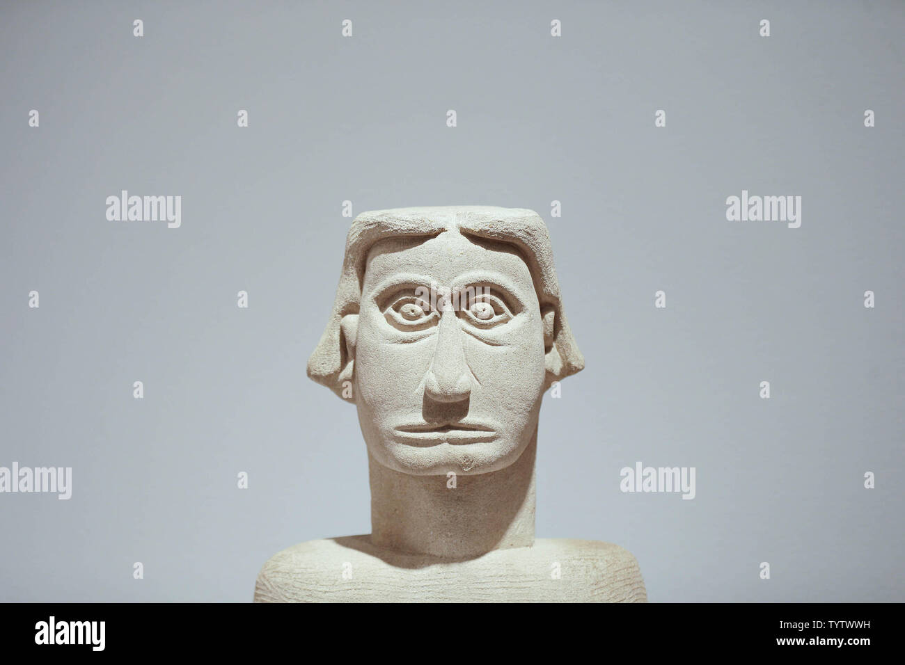 A 20th Century Bust by an unknown artist is on display at a press preview of an upcoming auction titled 'Outsider and Vernacular Art' at Christie's in New York City on January 12, 2019. The auction featuring Henry Darger's '148 At Jennie Richee During fury of storm are unsuccessfully attached (sic) by Glandelinians / 149 At Jennie Richee narrowly escape capture but Blengins come to rescue, double sided' , estd $250,000 - $500,000 and Bill Traylor's 'Goat, Camel, Lion and Figures', estd $75,000 - $100,000 takes place at Christie's on January 18th.     Photo by John Angelillo/UPI - Stock Image