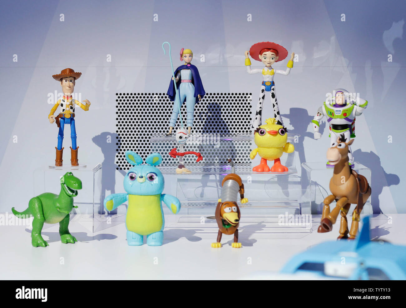 Toy Story 4 action figures from Mattel are on display at the at 116th American International Toy Fair at the Jacob K. Javits Convention Center in New York City on February 16, 2019. This is largest toy and youth product marketplace in the Western Hemisphere, bringing together more than 1,000 exhibiting manufacturers, distributors, importers and sales agents from around the globe to showcase their toy and entertainment products.       Photo by John Angelillo/UPI - Stock Image