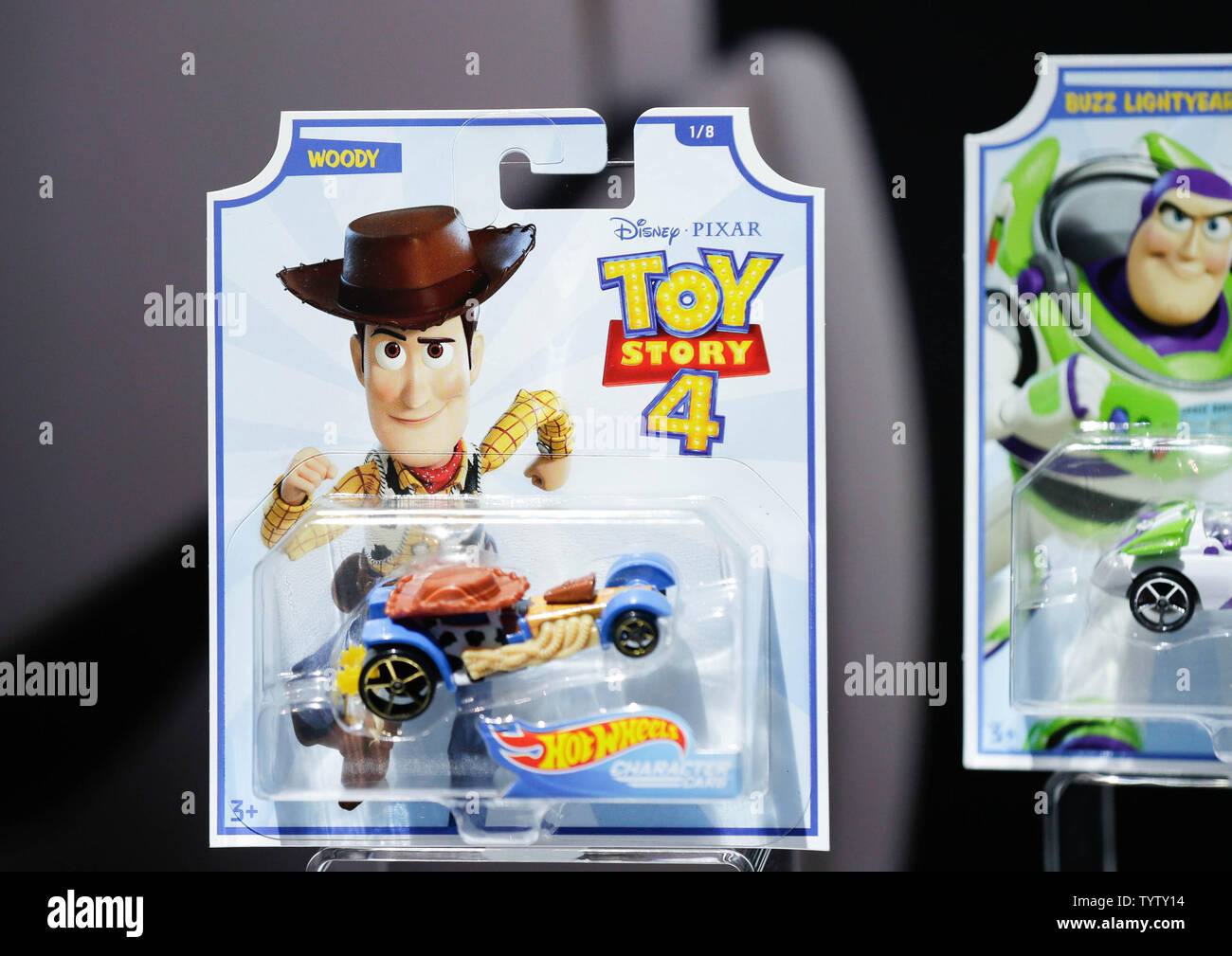 Toy Story 4 Hot Wheels cars from Mattel are on display at the at