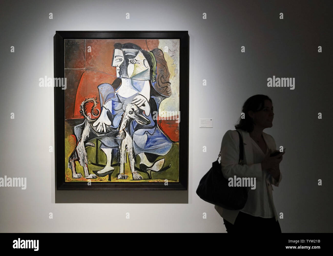 Femme Au Chien by Pablo Picasso is on display at the grand