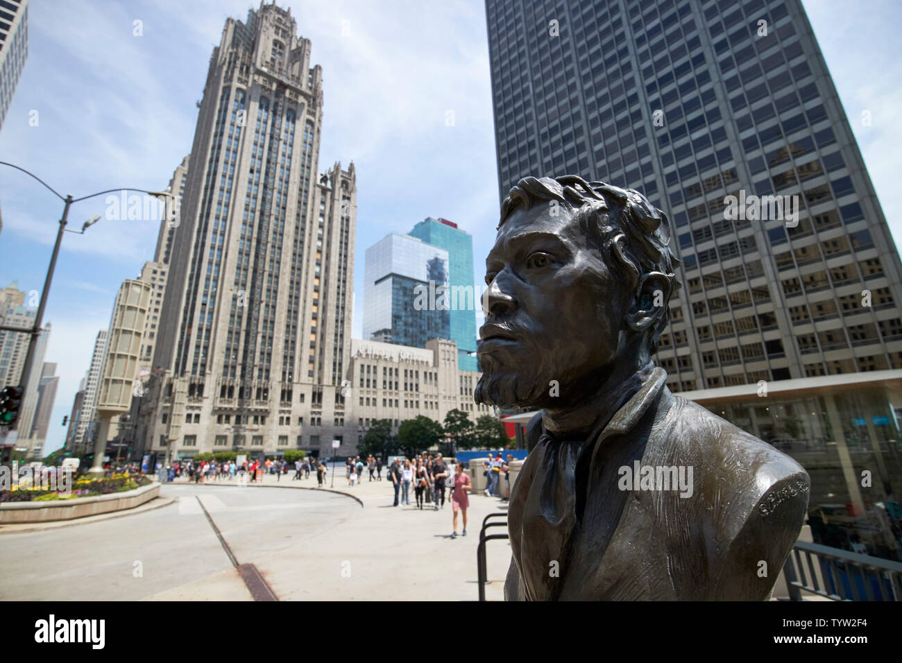 Jean Baptiste Point du Sable founder of Chicago statue at the start of magnificent mile downtown Chicago IL USA - Stock Image