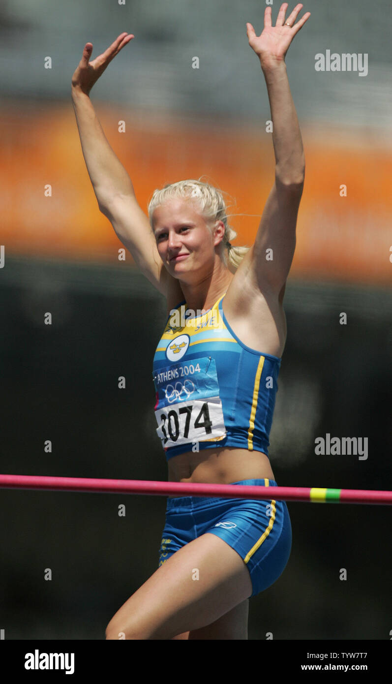 Carolina Kluft of Sweden leads the women's heptathlon with 2212 ...