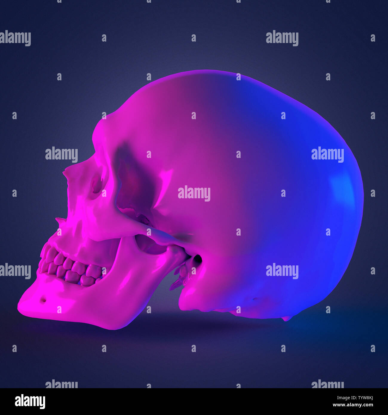 3d rendered abstract rendering of a skull Stock Photo