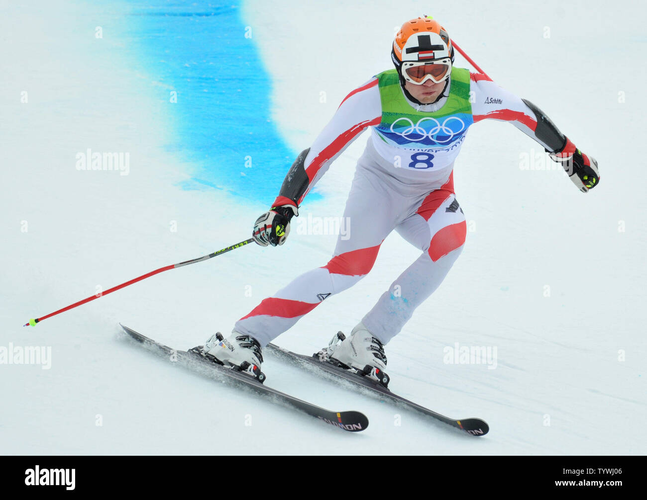 Austria's Romed Baumann competes in the Men's Giant Slalom during the 2010 Vancouver Winter Olympics in Whistler, Canada on February 23, 2010.   UPI/Kevin Dietsh Stock Photo
