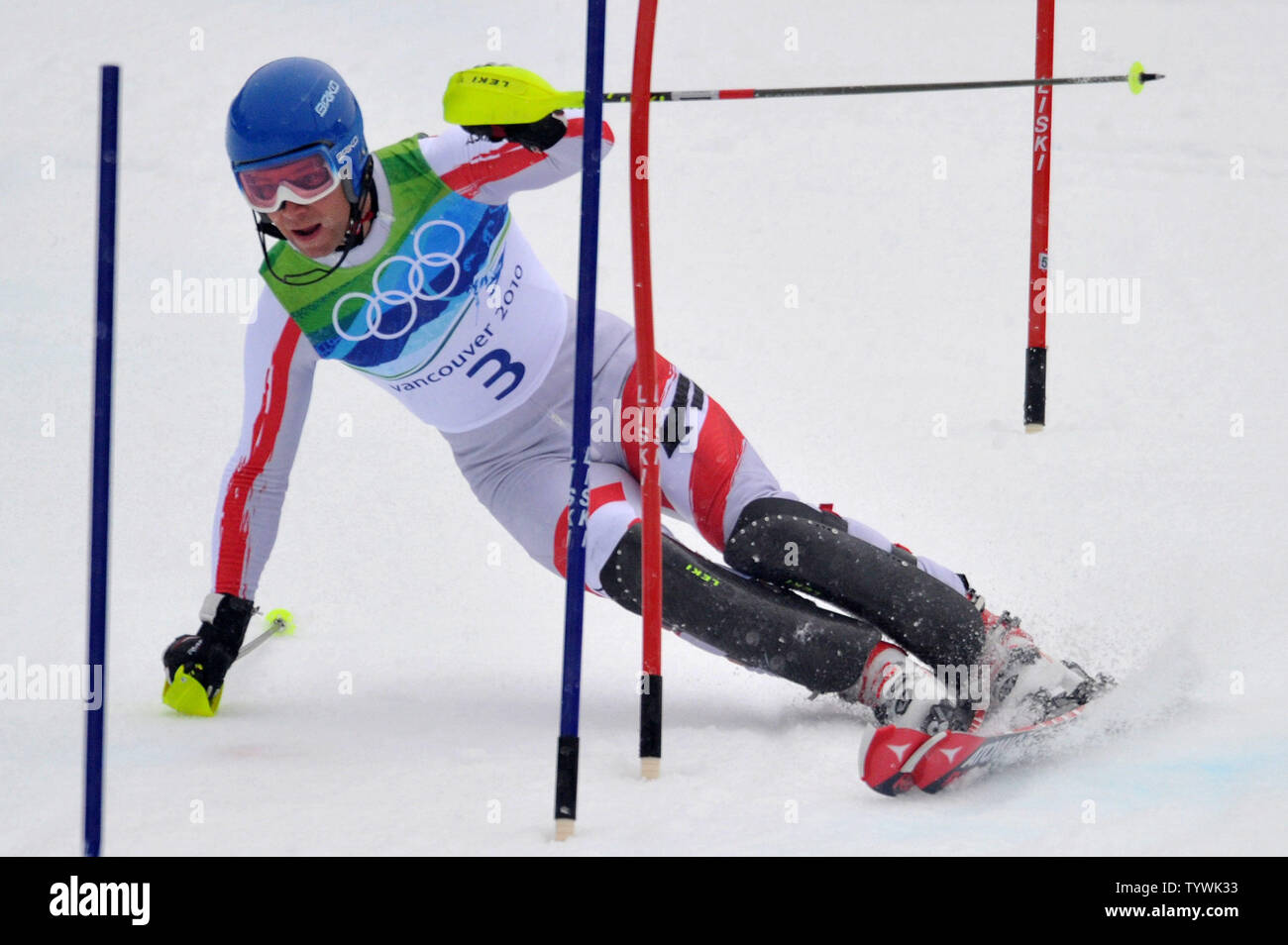 Austria's Benjamin Raich competes in the Men's' Slalom during the 2010 Vancouver Winter Olympics in Whistler, Canada on February 27, 2010.  UPI/Kevin Dietsch Stock Photo