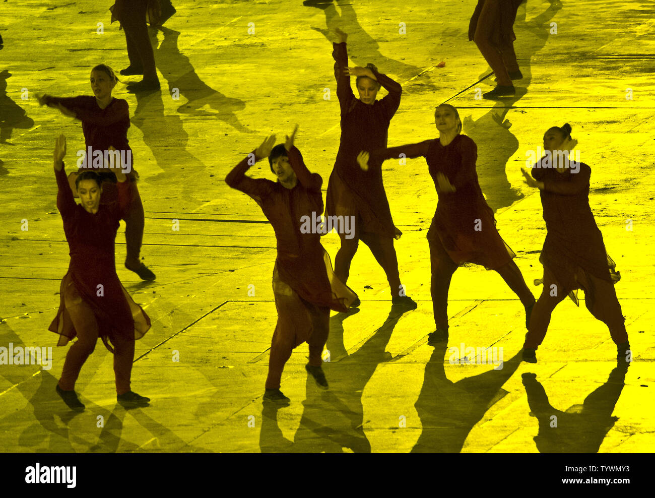 Dancers perform in the segment of the Opening Ceremony at the London 2012 Summer Olympic Games by Akram Kahn and Emeli Sande that was cut from the NBC coverage in the United States. Kahn was 'disheartened and disappointed' this tribute to the 2005 London bus and train bombings was not seen in the U.S. UPI/Ron Sachs - Stock Image
