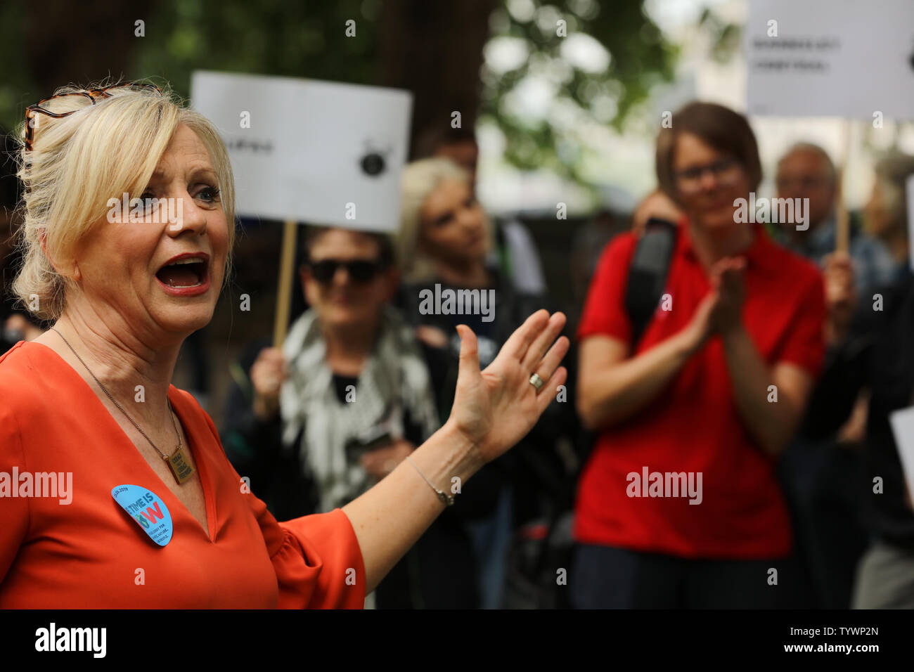 London, UK. 26th June 2019. British Member of Parliament, Tracy Brabin, talking with participants of the mass lobby of MP's around the Houses of Parliament in London, organised by The Climate Coalition and Greener UK, pressing for more urgent and bold action on climate change. Credit: Joe Kuis / Alamy News - Stock Image