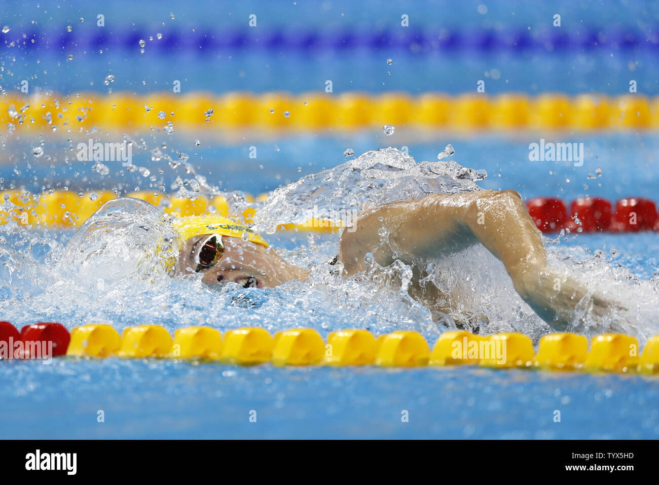 Australia's 4x100M relay team from left  in the Olympic Aquatics Stadium at the 2016 Rio Summer Olympics in Rio de Janeiro, Brazil, on August 5, 2016. Horton won gold with a time of 3:41.55.  Photo by Matthew Healey/UPI..Bronte Campbell (C) Emma McKeen (R) Brittaney Elmsley pool Stock Photo