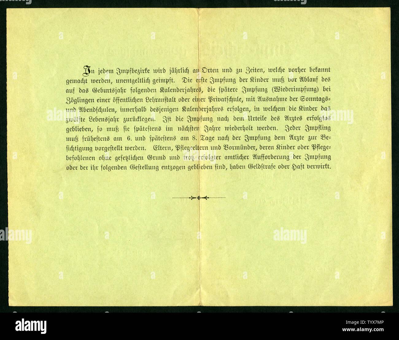 Europa, Deutschland, Sachsen-Anhalt, Magdeburg, grüner Impfschein ( Wiederimpfung ), Rückseite, ausgestellt am 12. 05. 1911 , siehe auch Nr. 1006001 . Stock Photo