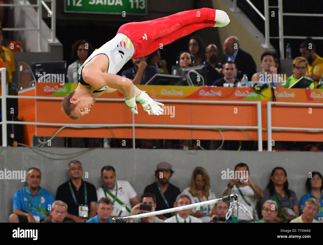 Fabian Hambuechen of Germany competes on the Horizontal Bar Final at the Olympic Arena of the 2016 Rio Summer Olympics in Rio de Janeiro, Brazil, August 16, 2016.          Photo by Kevin Dietsch/UPI Stock Photo