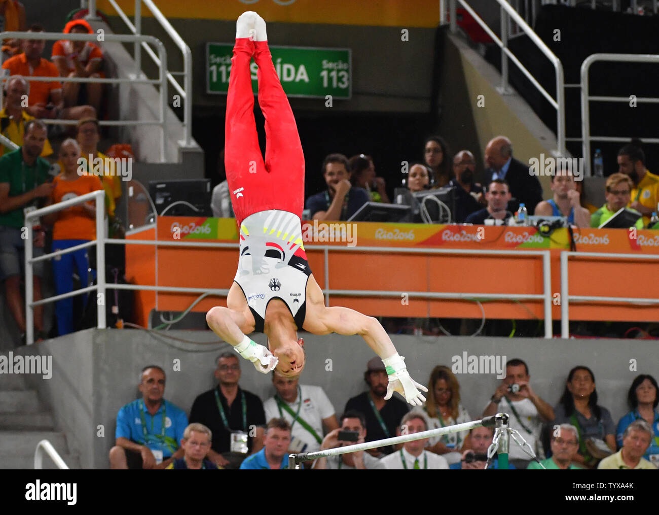 Fabian Hambuechen of Germany competes on the Horizontal Bar Final at the Olympic Arena of the 2016 Rio Summer Olympics in Rio de Janeiro, Brazil, August 16, 2016.          Photo by Kevin Dietsch/UPI - Stock Image