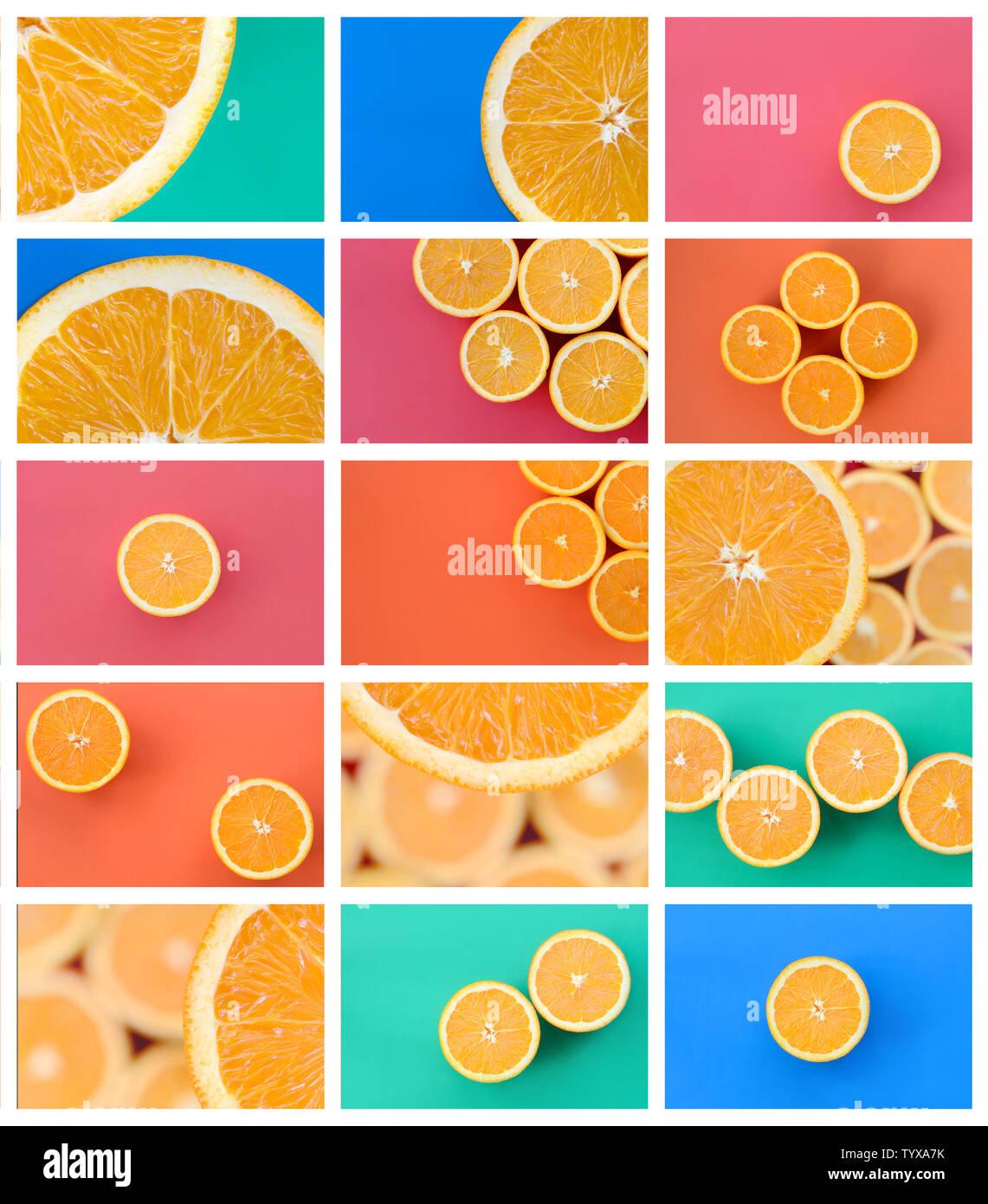 A collage of many pictures with juicy oranges. Set of images with fruits on backgrounds of different colors - Stock Image