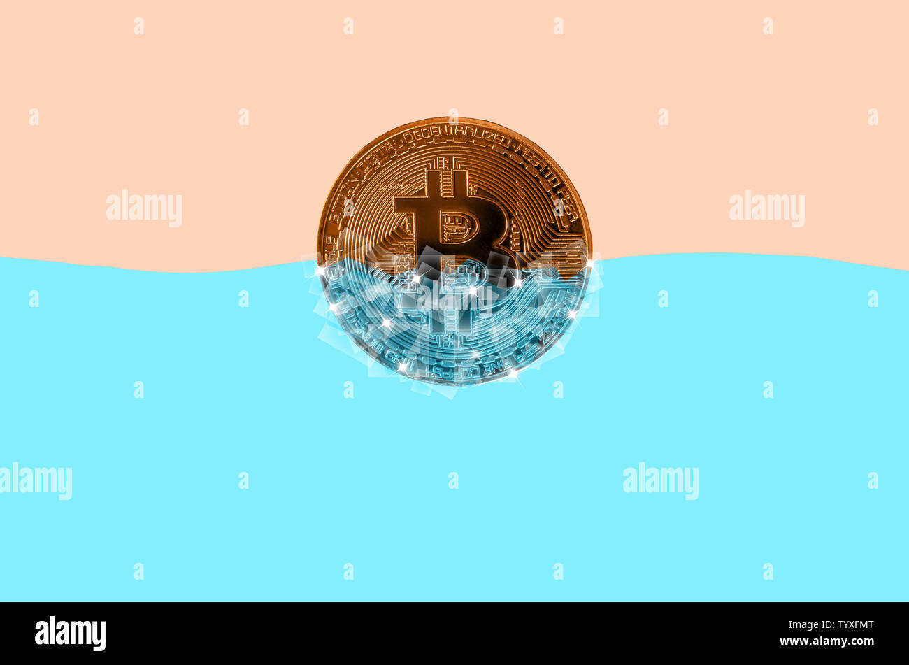 Frozen golden bitcoin in blocks of ice in blue water. The concept of freezing of a cryptocurrency grow or wallet for security purposes. - Stock Image