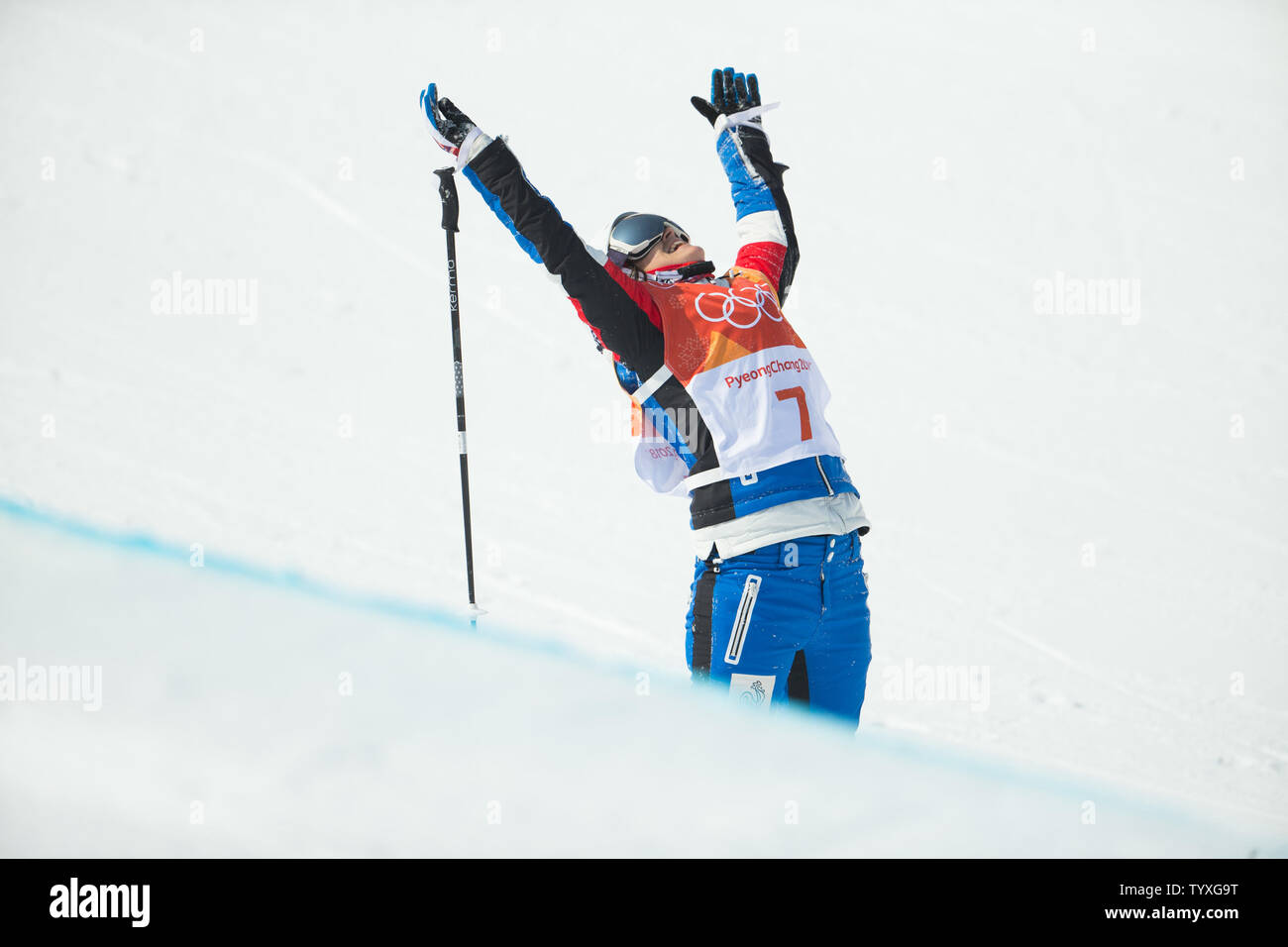 Marie Martinod of France celebrates after a fall on her last run in the Freestyle Skiing Ladies' Halfpipe final at Phoenix Snow Park in Pyeongchang, South Korea on February 20, 2018. Martinod took silver in the event with a best score of 92.60. Photo by Matthew Healey/UPI - Stock Image