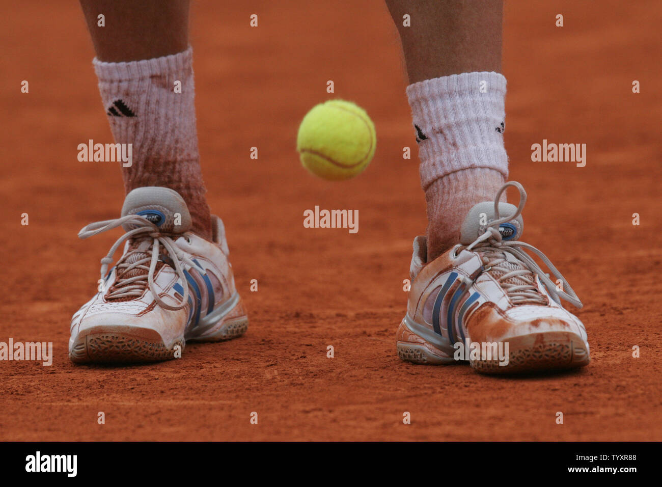 The Shoes Of Frenchman Paul Henri Mathieu Show The Effect Of The Clay Courts During His