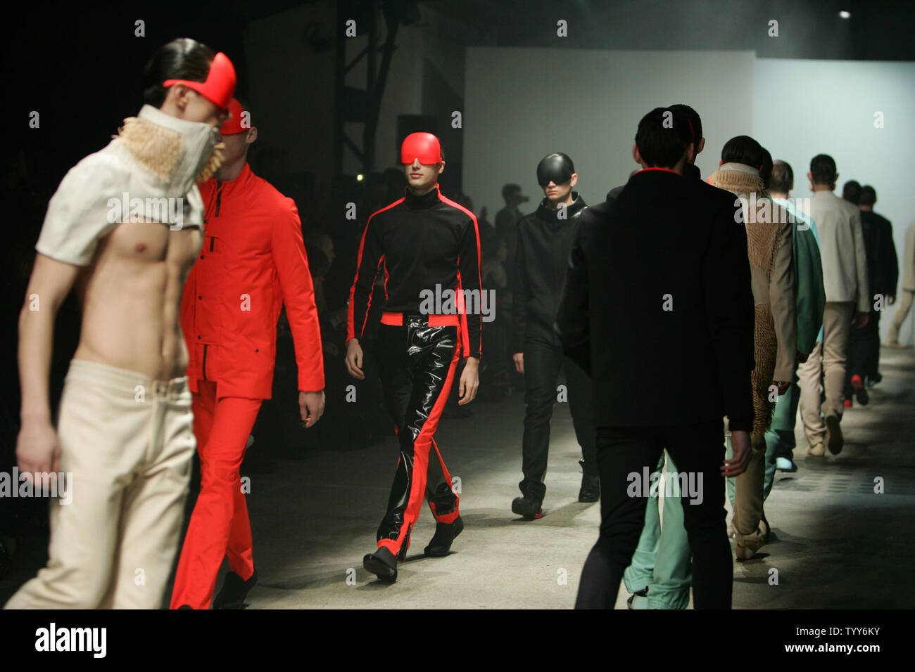 Models Wear Outfits By French Fashion Designer Romain Kremer At The End Of His Men High Fashion Collection Presentations In Paris January 24 2010 Upi Eco Clement Stock Photo Alamy