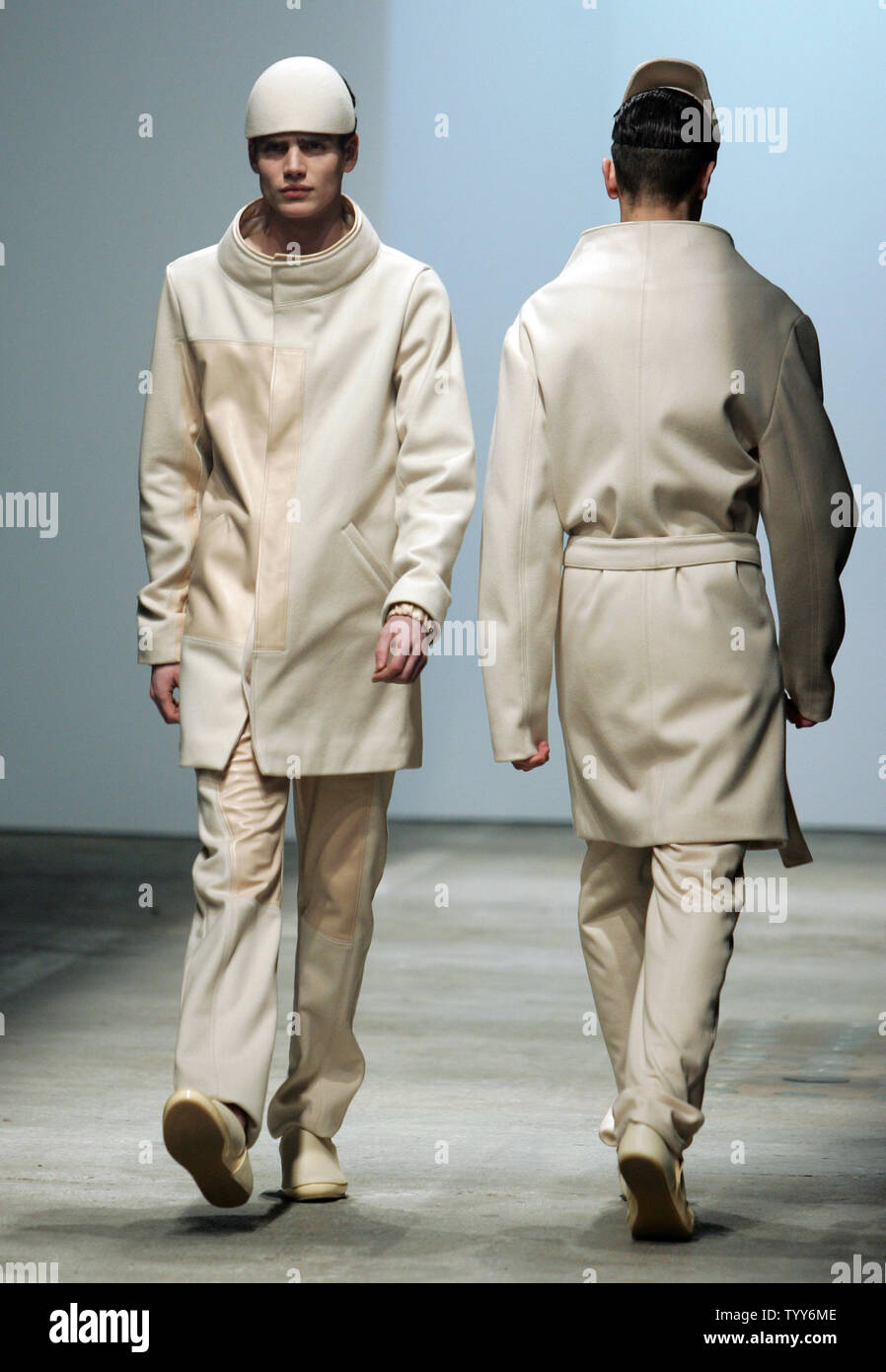 A Model Wears An Outfit By French Fashion Designer Romain Kremer During The Men High Fashion Collection Presentations In Paris January 24 2010 Upi Eco Clement Stock Photo Alamy