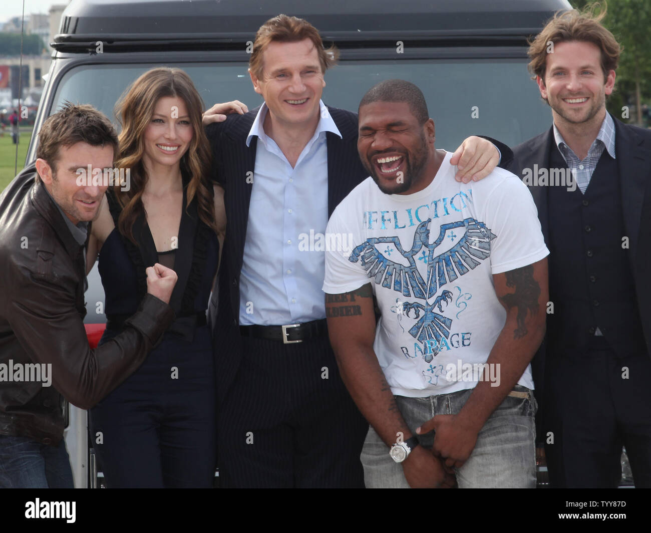 From L To R Sharlto Copley Jessica Biel Liam Neeson Quinton Rampage Jackson And Bradley Cooper From The Film The A Team Arrive On The Champs De Mars In Front Of The Eiffel