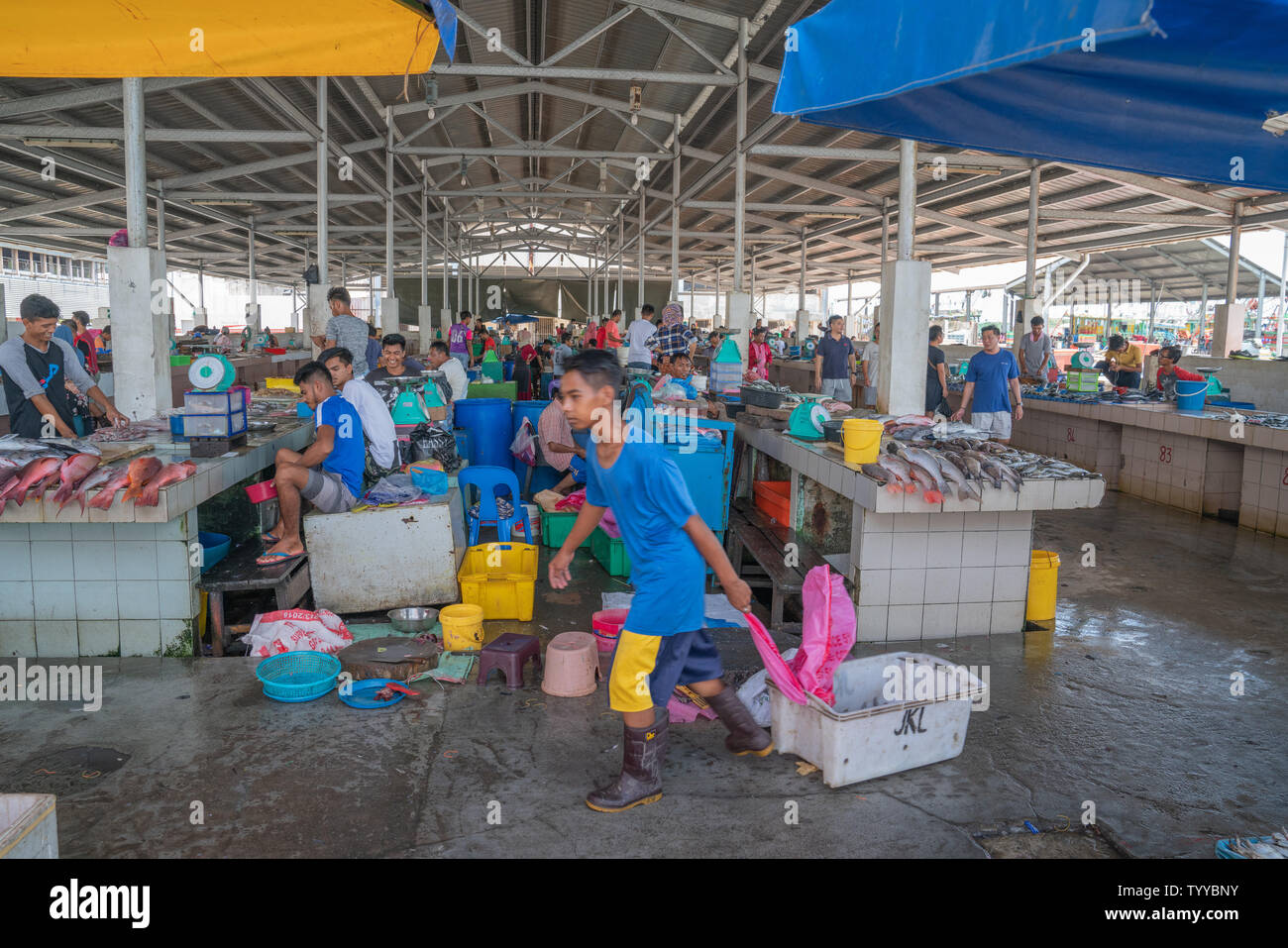 KOTA KINABALU BORNEO - MAY 31 2019; Workers, vendors and fresh seafood in city's wet or fish market near wharf. - Stock Image