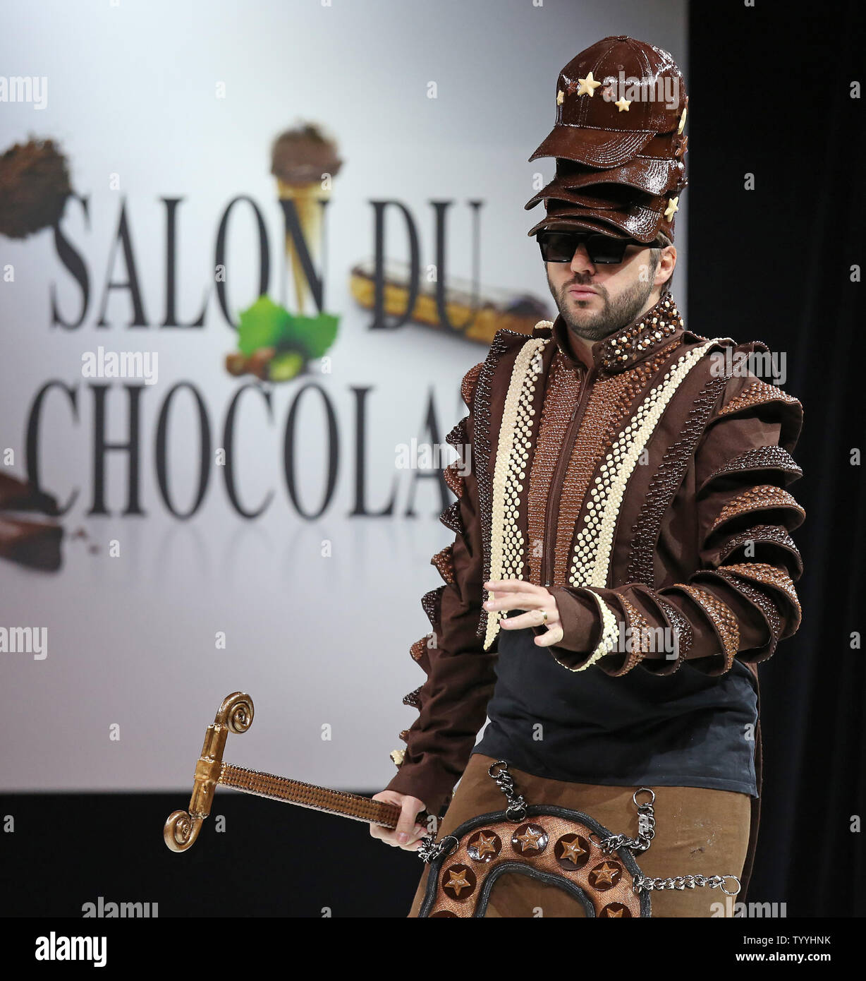 Helmut Fritz Wears A Creation Made With Chocolate During A Fashion Show At The Inauguration Of