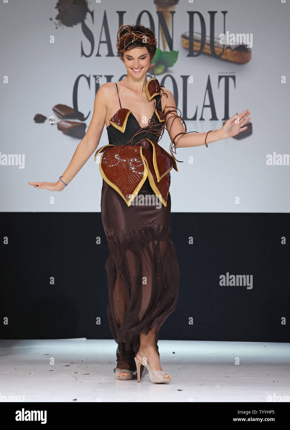 Eglantine Emeye Wears A Creation Made With Chocolate During A Fashion Show At The Inauguration Of The 19th Annual Salon Du Chocolat In Paris On October 29 2013 The Show The World S